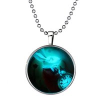 """Wholesale Magic Bunny - Halloween Necklace Jewelry Magic Devil White Rabbit Bunny Glow in the Dark Flashing Silver Tone Necklace, 23.6""""inches 152N67"""