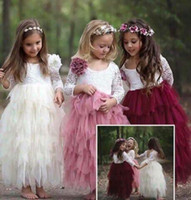 Wholesale Boutique Wedding Gowns - Kids Girls Lace Dresses Baby Girl Floral Embroidery Long Dress Boutique Infant Princess Full Sleeve Tulle Tutu Dress for Wedding Party B554