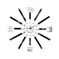 Hotsale Moderne 3D bricolage simple horloge mur autocollant Home Living Room décor horloge miroir