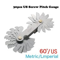 Atacado Aço inoxidável Screw Gauge 60 Degree US System American Standard Screw Thread Template Measuring Tool 30pcs / set