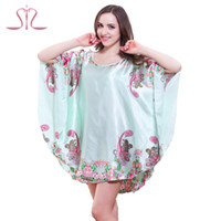 Wholesale Silk Pyjama Dress - Wholesale-Top Promotion Summer Style Cute Charming Plus Size Home Clothing Women Pyjamas Loose Silk Bathrobe Women Dressing Gowns 10143