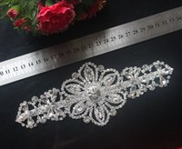 Wholesale Decorations For Sashes Dresses - 1pcs Deluxe Rhinestone Trim Applique Crystal Bridal Sash Belt For Wedding Bridal Dress Sash Wedding Decoration