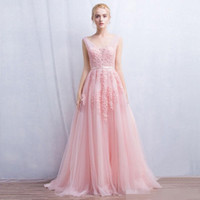 Wholesale Winter Soiree Dresses - Vestido de festa New Coming Robe De Soiree V Neck with Lace Appliques Long Tulle Party Evening Dresses 2016 Pink Navy Blue Gray