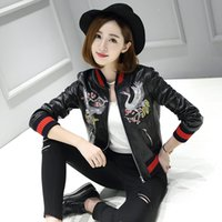 Wholesale Korean Leather Jacket Ladies - Wholesale- 2016 spring and autumn ladies leather leather motorcycle jacket short paragraph Korean version of Heavy embroidered jacket