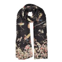 Wholesale Scarves Birds - fashion women scarves simple light rendering winter warm shawl close to skin Bird branches flying Christmas SF863