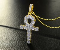 Wholesale Necklace For Keys - HipHopLion 925 sterling silver Luxurious AAA Zircon mosaic,Egyptian Ankh Key cross Pendant Necklace, for men & women's gifts hip hop jewelry