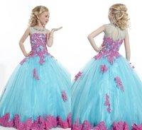 Wholesale Sky Blue Pageant Dress Child - New Girls Pageant Dresses Light Sky Blue Tulle Lace Sheer Neck Ball Gown Beaded Lovely Flower Girls Dresses For Weddings Cheap Kids Children