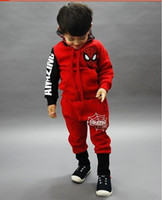 Wholesale Spiderman Thick Hooded - Spiderman suit boy children with thick warm clothing for the winter boys and girls establish 2016 new shipping suit autumn HJIA833