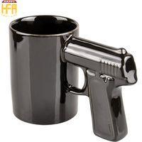 Wholesale Black Wholesale Ceramic Coffee Cups - Creative Gun Mug Ceramic Mugs White Black Gun Coffee Water Cups Thermo Stability Beer Mugs Household Coffee Bar Use