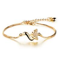 регулируемые браслеты из змеиной цепи оптовых-Женщины браслет ювелирные изделия змея цепи 18K позолоченные браслеты браслеты ж / животные лиса Кристалл браслеты для женщин регулируемый AKS470