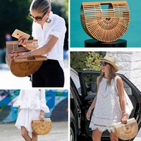 Wholesale Grasses Bamboos - Europe and the United States fashion bamboo basket package bamboo package hollow beach bag handbag