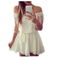 Wholesale Ladies Summer Dresses Wholesale - Wholesale-IMC 2016 Fashion Summer Womens Ladies Off the Shoulder Strapless Lace Chiffon Evening Short Mini Dress White