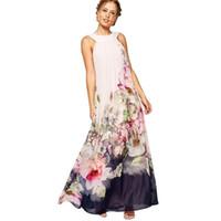 Wholesale Elegant Children Dresses - Nice Summer Style Floral Print Maxi Dresses Women Beach Club Casual Loose Chiffon Sleeveless O-Neck Long Elegant dress Plus Size
