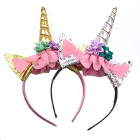 Wholesale Party Animal Head Costume - Fashion Magical Girls Kids Decorative Unicorn Horn Head Fancy Party Hair Headband Fancy Dress Cosplay Costume Jewelry Gift