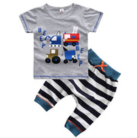 Wholesale Baby Boy Trouser Grey - Retail!Summer 2016 fashion baby Boy's clothing sets children's clothing male 100%cotton kids suits grey truck t-shirt trousers 16013