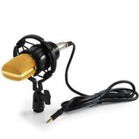 motif radio achat en gros de-BM-700 Condenseur Son Enregistrement Microphone 3.5mm Unidirectionnel Motif Noir Microfone Avec Choc Mount Pour Radio Braodcas