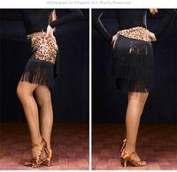Wholesale Latin Sexy Ruffle Skirts - New Adult Latin Dance Dress Salsa Tango Cha cha Ballroom Competition Group Dance Top Sexy Tassel Skirt 4Color H010