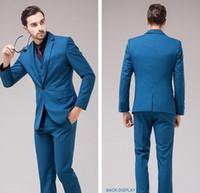 Wholesale Teal Suit Men - Slim Fit Groomsmen Teal Groom Tuxedos Notch Lapel Men's Suit One Button Best Man Wedding Dinner Suits (Jacket+Pants+Vest) J883