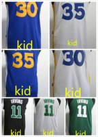 Wholesale New Style Baseball Jerseys - 2017 2018 new style kid 30 stephen curry 35 kevin durant 11 kyrie irving kids jersey white blue green black 100% good quality