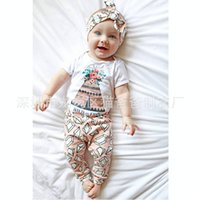 Wholesale Diamonds Romper - NWT 2016 New cute Baby Girls Outfits Set Summer Sets Cotton romper onesies diaper covers + Harem Pants - Diamond floral wild and free