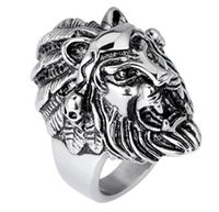Moda New Style Men Cool Enorme e Inoxidável Lion Head King of Animal Grande Moda Masculino Biker Ring - Free Shipping + Free Gift