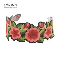 Atacado- LWONG 2017 New Handmade Embroidered Floral Statement Choker Necklace Sexy Boho Rose Flower Tattoo Chokers Chocker Maxi Necklaces