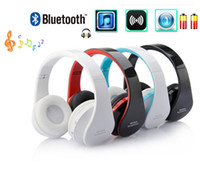 Wholesale Audio Wireless Earphone - High quality foldable Wireless DJ stereo audio Bluetooth Stereo Headset Handsfree Headphones Earphone Earbuds with a headset radio FM