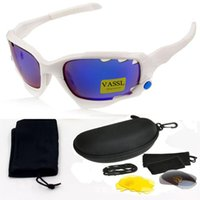 Wholesale Bicycle Top Box - Free Shipping Vassl New Fashion Outdoor Cycling Eyewear Sunglasses Women Men White Frame Top Quality Bicycle Sports Sunglasses For box