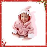 Wholesale Hooded Towel Kids Bathrobes - Kids Flannel Bathrobe Shark Cotton Towels Hooded Nightgown
