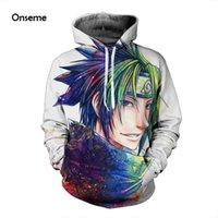 Wholesale Anime Sportswear - Wholesale- Mens Women Long Sleeve Outerwear Classic Anime Naruto 3D Hoodies Pullovers Sportswear Hooded Sweatshirts Hip Hop Hoodie