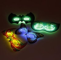 Wholesale Owl Back - LED Flash Mask Children Halloween Masks Glowing Lighting Mask Owl Goggles Butterfly Party Mask CCA7421 600pcs