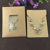 Wholesale Clear Necklace Bags - Wholesale-50Set Kraft Paper Jewelry Bags&Necklace Cards Blank Jewelry Displays Packaging Karft Bag with Clear PVC Window Retro Sealing