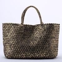 Wholesale Plum Cross Stitch - 10 Colors Brand New Shinning Woven Leather Crochet Handbag Cross Stitch Hobo Women's Knitting Serpentine Bag Large Casual Tote