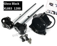 Wholesale 883 Iron - Motorcycle Black Cafe Gauge + Headlight Mount clip on for Harley Sportster IRON XL883 1200R Nightster Roadster