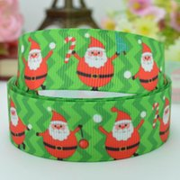 "Wholesale Grosgrain Chevron Red - Free shipping 7 8"" 22mm Father Christmas Red Green Chevron Printed grosgrain ribbon hair bow DIY handmade OEM 50yards"