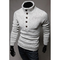 Wholesale button turtleneck sweater - Wholesale-The new single button decorative cultivate one's morality sweater, winter fashionable man turtleneck sweater