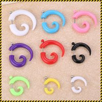 Wholesale Steel Plug Hook - 9 Pair mix nine color size earrings Acrylic Faux fake Spiral Taper Plug body piercing jewelry hook