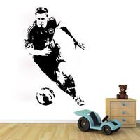 decalques esportivos futebol venda por atacado-Jogador de futebol adesivo de parede argentina esporte atleta atleta de parede decalque decoração do vinil para meninos sala de estar do berçário quarto escritório da escola