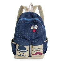 Wholesale Big Backpacks Mustache - Luggage Bags Backpacks New 2015 Fashion Women Backpack Candy Color Famous Brand Beard School Bag For Women Casual Dot Big Mustache Backpacks