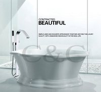 Wholesale Bath Set Box - Large Water Flow Easy Installation With Embedded Box Bath Waterfall Floor Standing Bathtub Faucet Mixer Set 6203