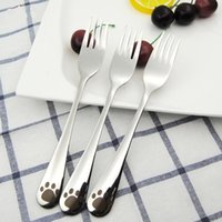 Wholesale Paw prints of small animals stainless steel forks Mirror polishing cm Stainless steel fork Cartoon pattern