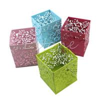 Wholesale Metal Pen Pot - Wholesale-Free Shipping New Hollow Rose Flower Pattern Square Pen Pencil Pot Container Holder Organiser