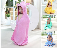Wholesale Hooded Baby Bath Towels Wholesale - Cute cartoon 100% cotton superior quality Children Cloak Hooded Bath towels baby quilt towel Cartoon beach towels wholesale DHL free