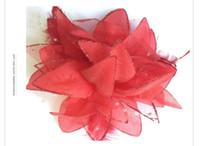 ingrosso clip di capelli del fiore bianco della piuma-10pcs nuziale nuziale bianco sparkle rose Flower Feather Corpetto hairwear Hair Clips pin Fascinator
