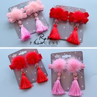 Wholesale Chinese Style Hair Clips - Chinese Style New Year Hairbands Solid Hair Bows Kid Girls Headwear Baby Girls Party Hair Accessories Fur Tassel Bow Clips Red Pink A7388