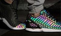 Wholesale Glow Dark Rainbow - 2018 ZX Flux Xenopeltis Snake Reflective,Xenopeltis Snake RUN shoes sports running Rainbow Glowing shoes Size 36-44