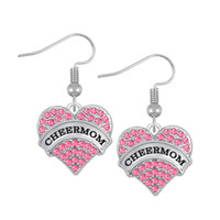 Wholesale Cheer Earrings - Hot Sale Alloy Earrings Heart Rhinestone Dangle Earrings Cheer mom Lady Dress Earrings Wholesale Drop Shipping FE119