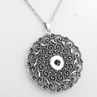 Wholesale Stainless Steel Neck Chains - Wholesale- 2016 Vintage Round 18mm snap button necklaces woman bohemian necklaces & pendants Beads Women's neck NE415 one direction