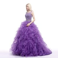 Wholesale Violet Ball - 2016 hot Bridal Multicolor Prom Dress Violet Organza Beaded Crystal Ruffles Bandage Long Quinceanera Dresses Luxury Ball Gown