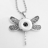 Wholesale White Gold Dragonfly Jewelry - snap button jewelry Newest dragonfly pendant Necklace Hot NE128(fit 18mm snaps snap) DIY Party dress jewelry Chiristmas